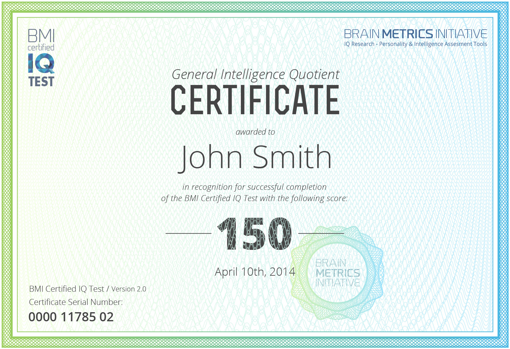 BMI IQ Test Certificate
