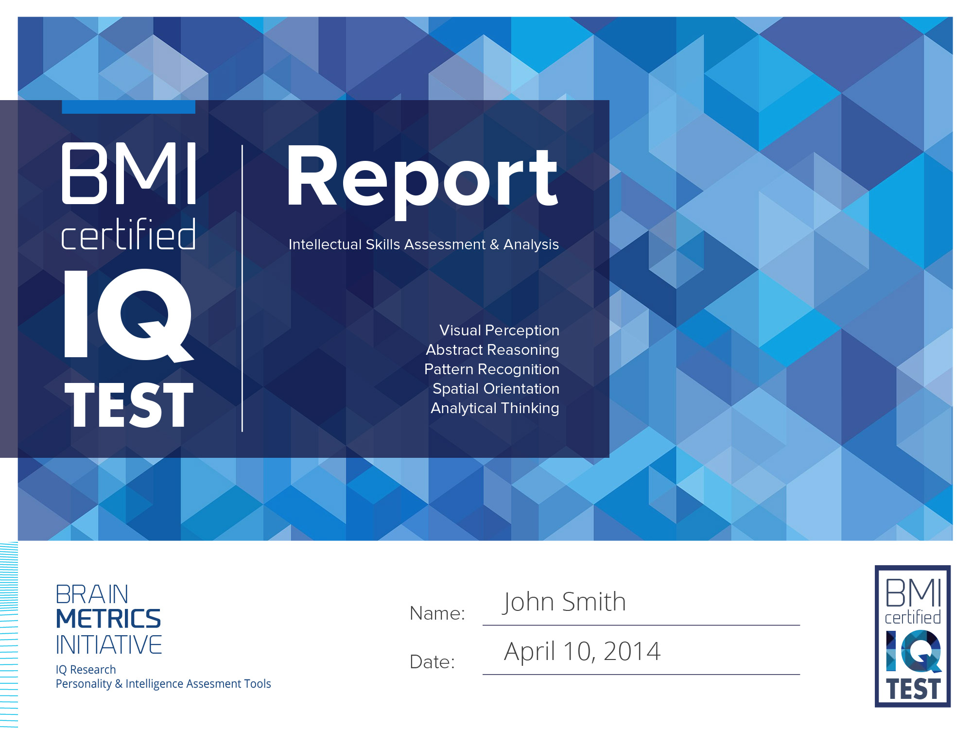 BMI Certified IQ Test Report
